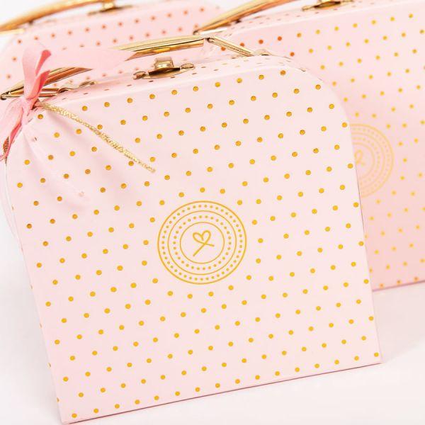 Μπομπονιέρα βάπτισης βαλιτσάκι ροζ χρυσό πουά ST00610