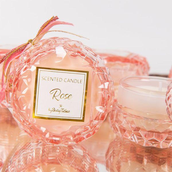 Μπομπονιέρα Αρωματικό κερί στρογγυλό ροζ απαλό γυάλινο rose Soap Tales
