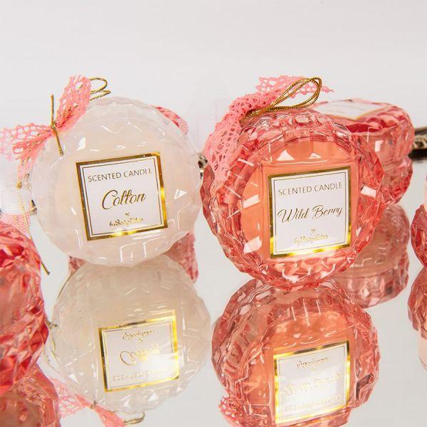 Μπομπονιέρα Αρωματικό κερί στρογγυλό ροζ γυάλινο wild berry Soap Tales