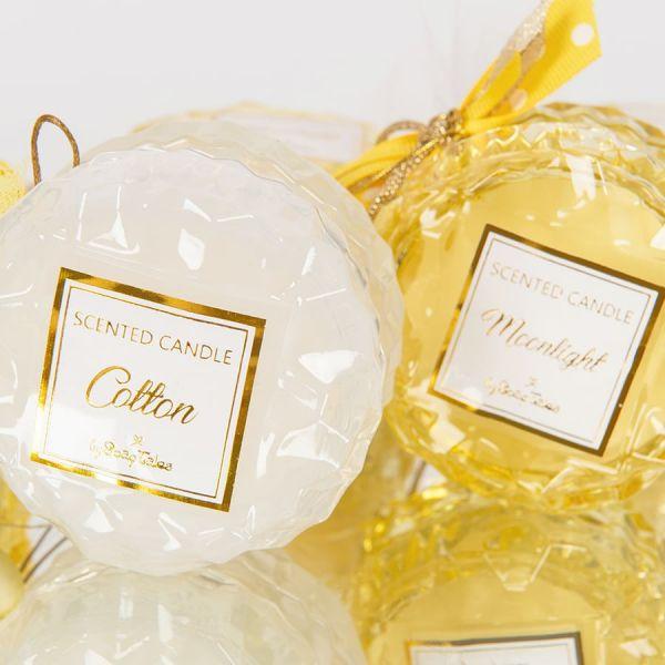 Αρωματικό κερί στρογγυλό κίτρινο γυάλινο moonlight