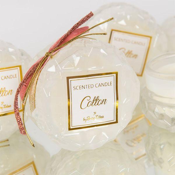 Αρωματικό κερί στρογγυλό λευκό γυάλινο cotton Soap Tales