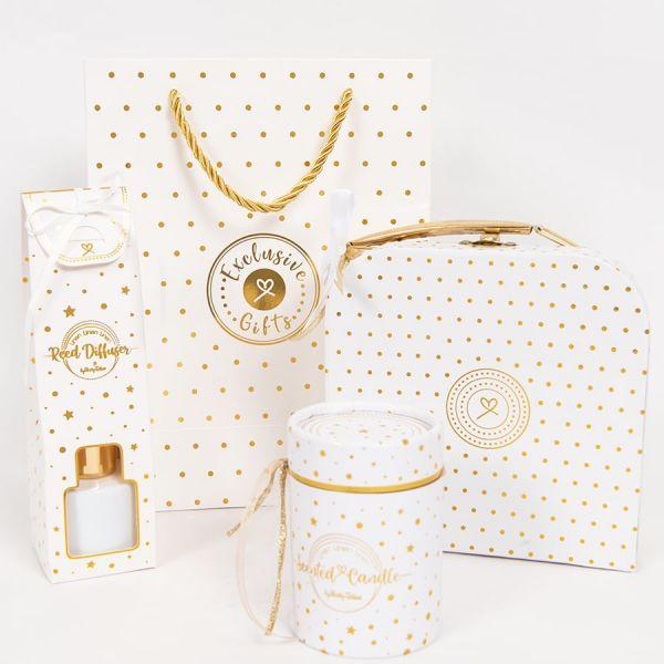 Μπομπονιέρα βάπτισης βαλιτσάκι λευκό χρυσό πουά ST00611