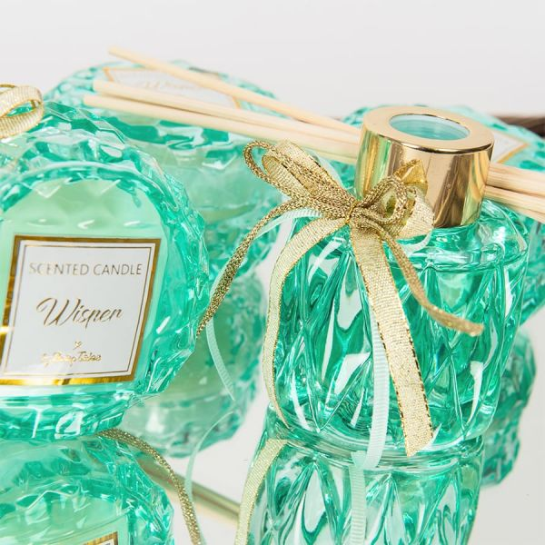 Μπομπονιέρα Αρωματικό χώρου σε βεραμάν σκαλιστό γυάλινο μπουκαλάκι 50ml Soap Tales