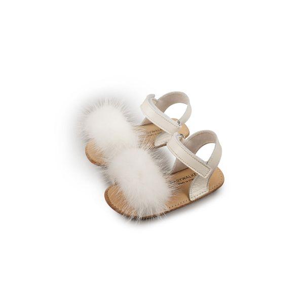 Βαπτιστικά ανατομικά παπούτσια Babywalker. Παιδικό δερμάτινο πέδιλο με γούνα στο μπροστινό μέρος του παπουτσιού