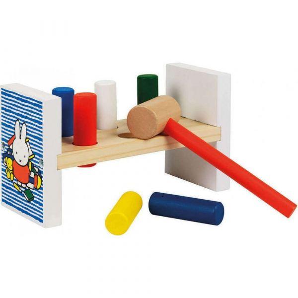 Ξύλινος πάγκος με σφυράκι Miffy με 6 ξύλα και σφυράκι, συσκευασία σε κουτί