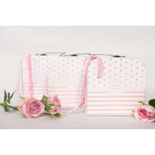 Μπομπονιέρα βάπτισης βαλιτσάκι ροζ με ευχές ST00317