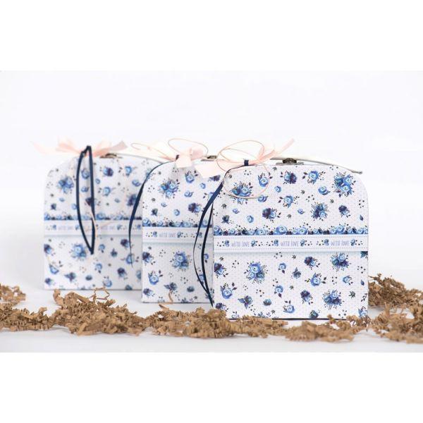 Μπομπονιέρα βάπτισης βαλιτσάκι μπλε με λουλούδια ST00273