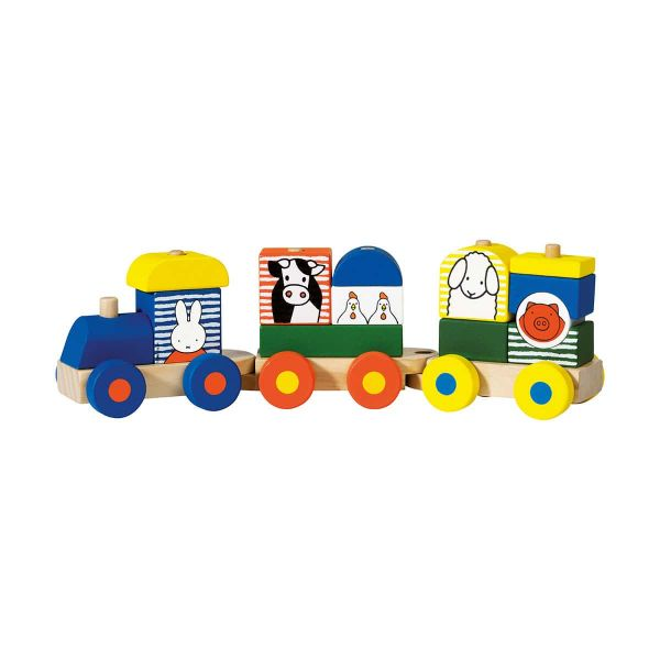 Ξύλινο τρενάκι Miffy 12 τεμαχίων - συσκευασία σε κουτί